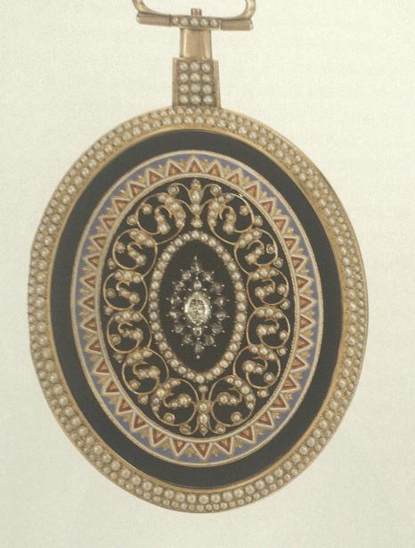 黄金画珐琅镶珍珠及钻石怀表-法国文艺复兴时期镀金铜水平座钟