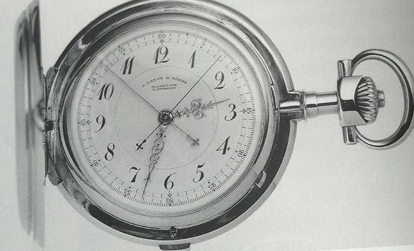 格拉苏蒂带有中央分钟累计指针的计时怀表