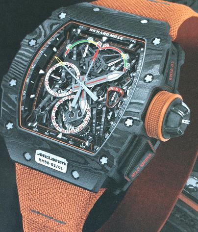 理查德米勒RM 50-03 McLaren F1超轻双秒追针陀飞轮计时表