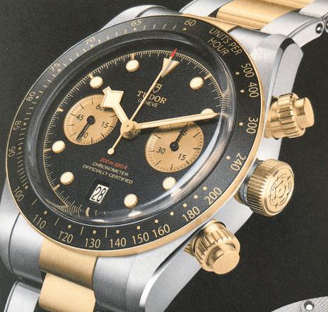 帝舵碧湾计时型黄金钢款腕表