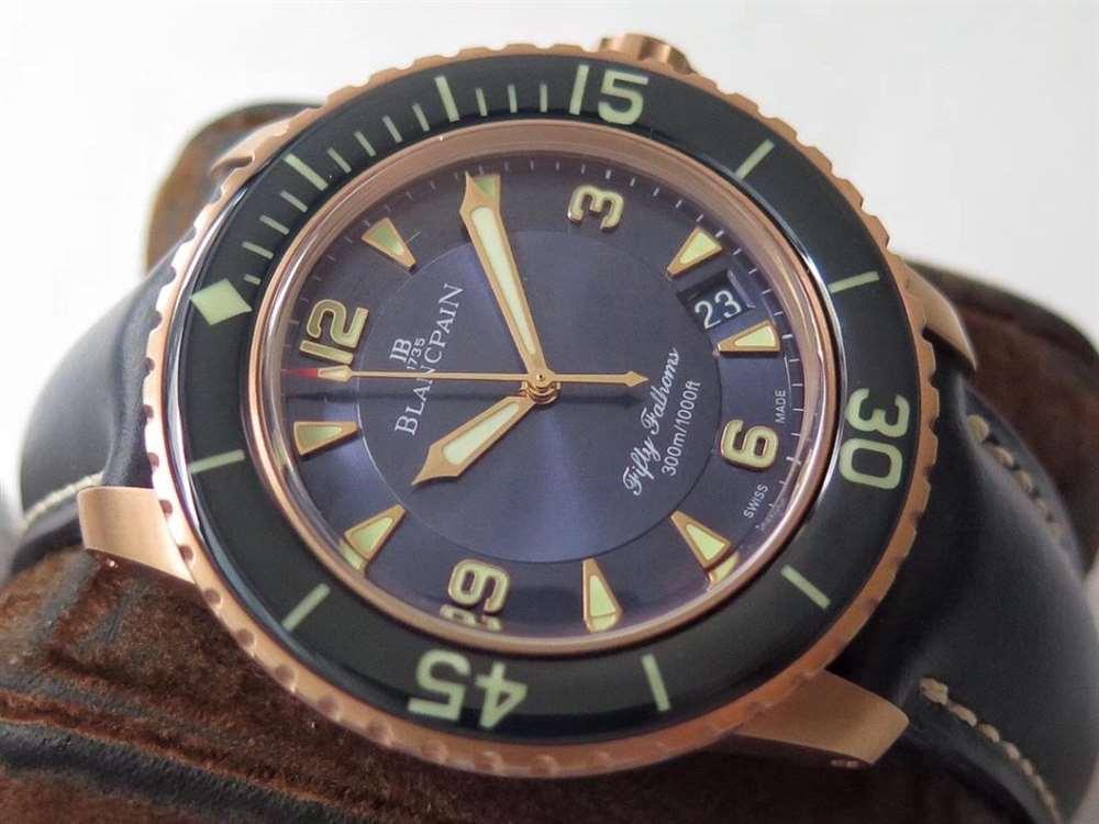 ZF厂宝珀五十噚5015红金(玫瑰金)腕表细节评测