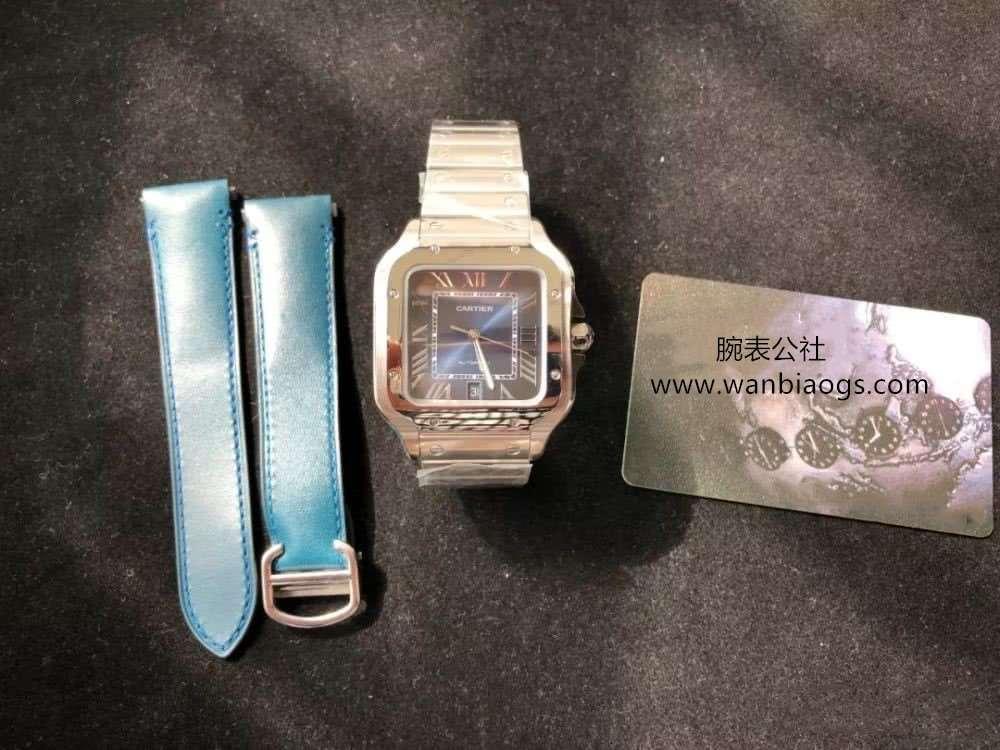 GF厂卡地亚山度士孔雀蓝面钢带款腕表评测做工如何?