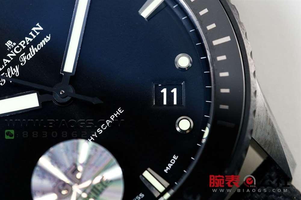 GF厂宝珀五十噚5000「深潜器蓝面陶瓷」腕表做工评测