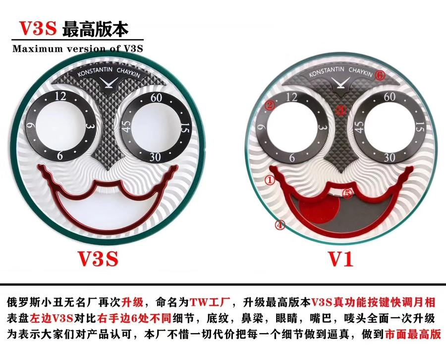 TW厂俄罗斯小丑(V3S)版真假对比赏析